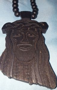 Black Wooden Jesus Piece